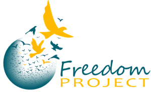 Freedom Project logo, with a flock of teal and yellow birds flying